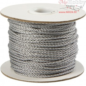Cord, thickness 2 mm, silver, 50m