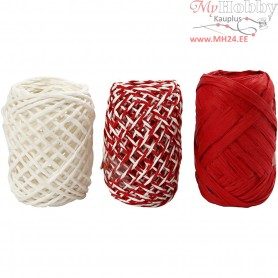 Paper Cord, thickness 1 mm, red/white harmony, 3x10m