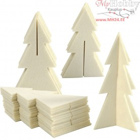 Felt shape, size 9x15 cm, thickness 3 mm, 3D Christmas Tree, 30pcs
