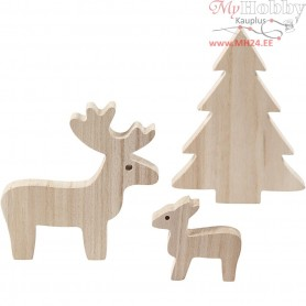 Deer and spruce, H: 6+12+15 cm, depth 1,5 cm, empress wood, 1set
