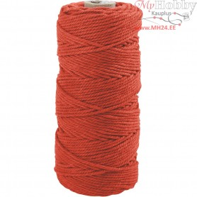Cotton Twine, L: 100 m, thickness 2 mm, orange, Thick quality 12/36, 225g