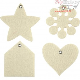 Felt Shapes, size 6,5-9 cm, thickness 3 mm, cream, 100pcs