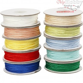 Plaited Satin Cord,  3 mm, asstd colours, 10x20m