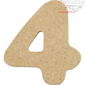 Number, 4, H: 4 cm, thickness 2,5 mm, MDF, 10pcs