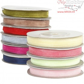 Organza Ribbon, W: 6 mm, asstd colours, 10x20m