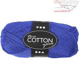 Mercerized Cotton Yarn, L: 165 m,  6S/4 , cobalt blue, 50g