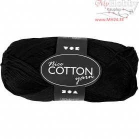 Mercerized Cotton Yarn, L: 165 m,  6S/4 , black, 50g