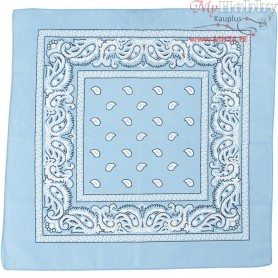 Printed Bandana, size 55x55 cm, light blue, 1pc