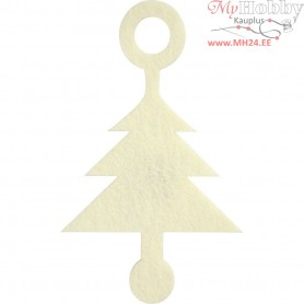 Felt shape, size 8x13 cm, thickness 3 mm, off-white, Christmas Tree, 4pcs
