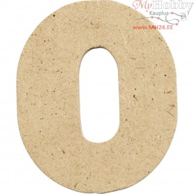 Number, 0, H: 4 cm, thickness 2,5 mm, MDF, 10pcs
