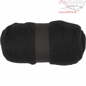Carded Wool, black, 100g