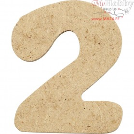 Number, 2, H: 4 cm, thickness 2,5 mm, MDF, 10pcs