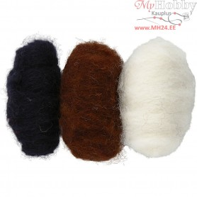 Carded Wool, black/off-white/brown harmony, 3x10g
