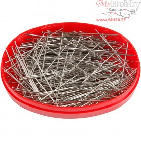 Straight Pins, L: 32 mm, thickness 0,5 mm, silver, 25g
