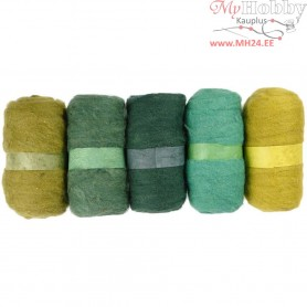 Carded Wool, green harmony, 5x100g