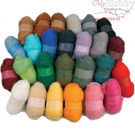Carded Wool, asstd colours, 26x25g
