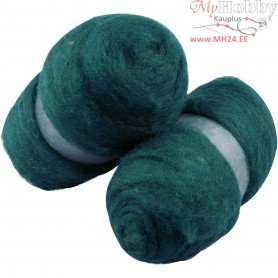 Carded Wool, green, 2x100g