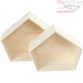 Storage Boxes, irregular pentagon, H: 22+26 cm, W: 26,5+31,5 cm, plywood, 2pcs, depth 12,5 cm