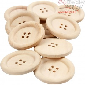 Wooden Buttons, D: 35 mm, hole size 2 mm, china berry, 4 holes, 10pcs