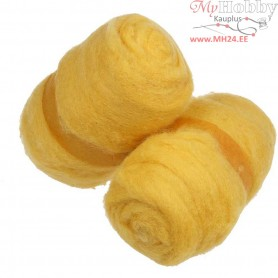 Carded Wool, yellow, 2x100g