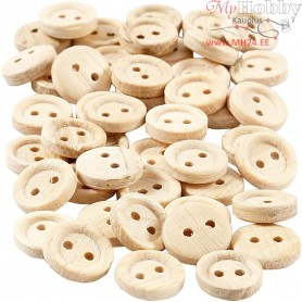 Wooden Buttons, D: 11 mm, with two holes, 50pcs