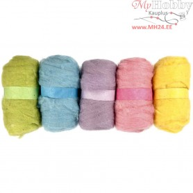 Carded Wool, pastel harmony, 5x100g