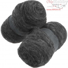 Carded Wool, natural grey, 2x100g
