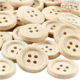 Wooden Buttons, D: 23 mm, with four holes, 30pcs