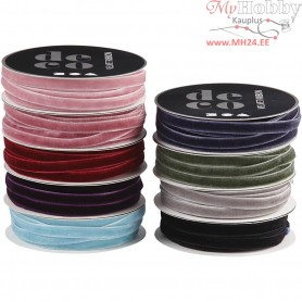 Velvet Ribbon, W: 6 mm, asstd colours, 9x10m