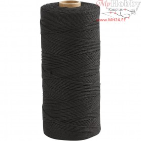 Cotton Twine, L: 315 m, thickness 1 mm, black, Thin quality 12/12, 220g