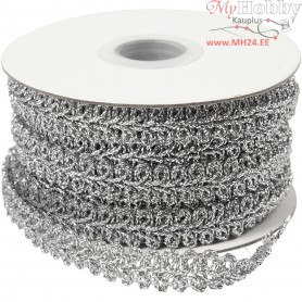 Braided Cord Trim, W: 10 mm, silver, 10m