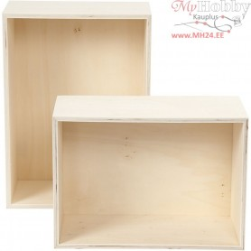 Storage Boxes, rectangle, H: 27+31 cm, W: 19,5+22,5 cm, plywood, 2pcs, depth 12,5 cm
