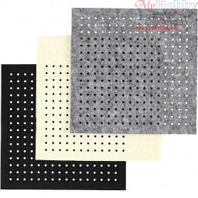 Craft Felt with Holes, sheet 20x20 cm, thickness 3 mm, grey, off-white, black, 12asstd. sheets