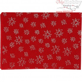 Craft Felt, A4 21x30 cm, thickness 1 mm, red, silver glitter hearts, 10sheets