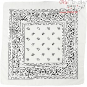 Printed Bandana, size 55x55 cm, white, 1pc