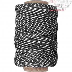 Cotton Cord, thickness 1,1 mm, black/white, 50m