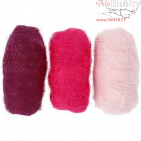 Carded Wool, purple/pink harmony, 3x10g