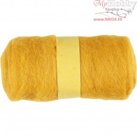 Carded Wool, yellow, 100g