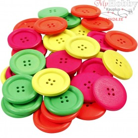 Wooden Buttons, D: 35 mm, hole size 2 mm, neon colours, china berry, 4 holes, 60pcs