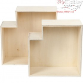 Storage Boxes, concave polygon, H: 27+31 cm, W: 27+31 cm, plywood, 2pcs, depth 12,5 cm