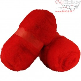 Carded Wool, red, 2x100g