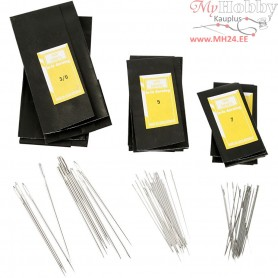Darning Needles, L: 48-65 mm, size 3/0+5+7 , 150ass.