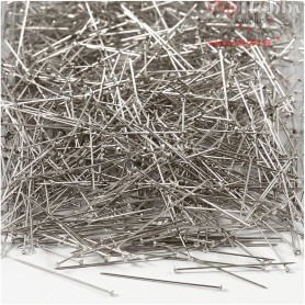 Straight Pins, L: 30 mm, thickness 0,2 mm, silver, 500g