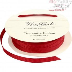 Decoration Ribbon, W: 5 mm, red, 15m
