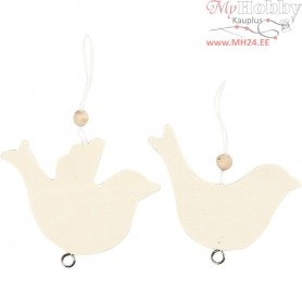 Dove Of Peace, Dove, size 7,5x9,5 cm, thickness 4 mm, poly wood, 4pcs