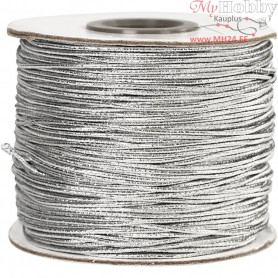 Elastic Beading Cord, thickness 1 mm, silver, 100m