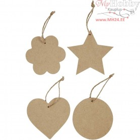 Ornaments, size 10 cm, thickness 2,5 mm, MDF, 8pcs
