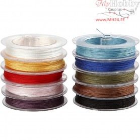 Polyester Cord Assortment, thickness 1 mm, asstd colours, 10x50m