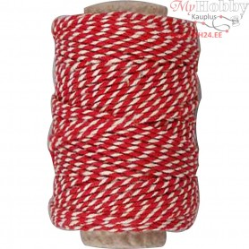 Cotton Cord, thickness 1,1 mm, red/white, 50m
