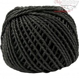 Paper Yarn, thickness 2,5-3 mm, approx. 42 m, black, 150g